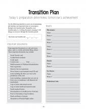 A worksheet from Succeeding as a Foster Child; transition plan for teens aging out of the foster care system